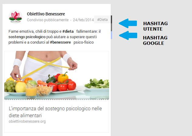Hashtag automatici di google